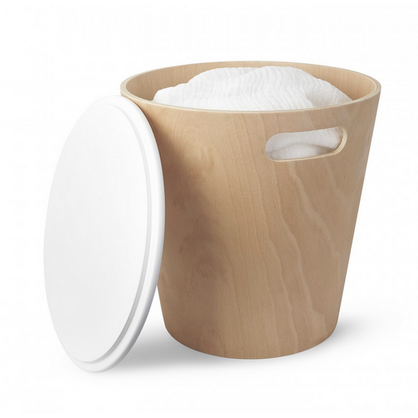 Woodrow Storage Stool White Natural