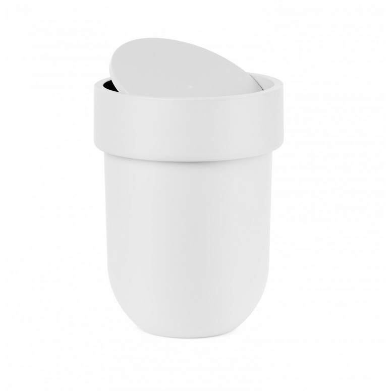 Touch Waste Can with Lid, White