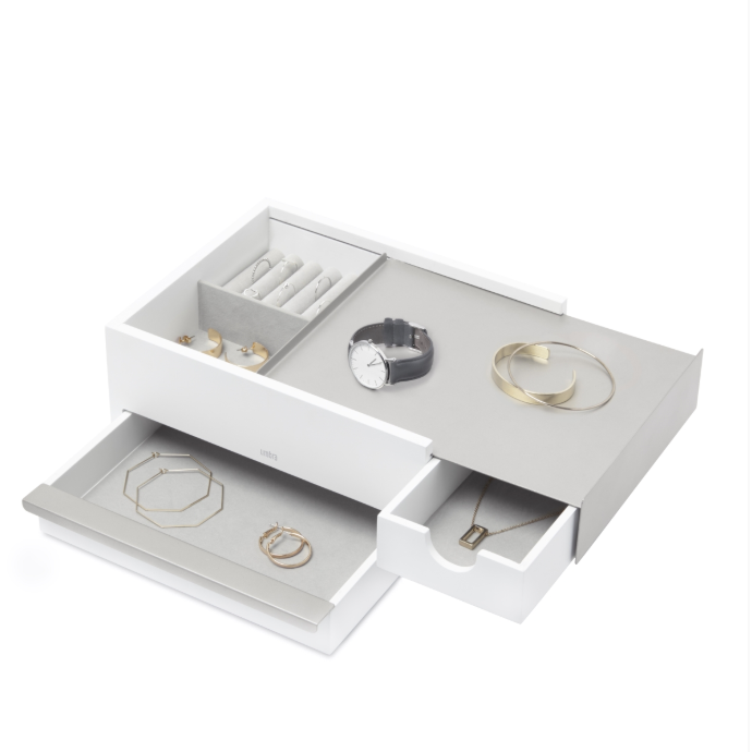 Stowit Jewelry Box, White Nickel - Neat Space