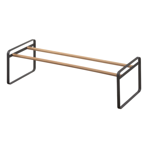 Plain Low-Profile Shoe Rack, Black/Wood