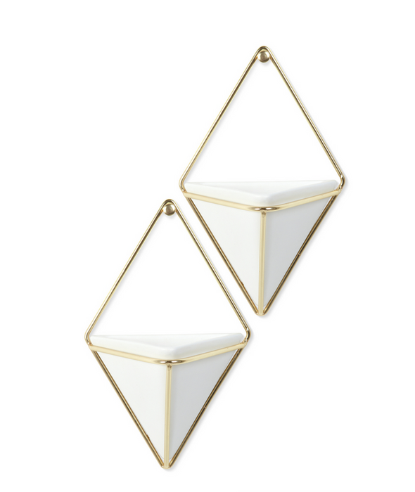 Trigg Wall Vessel White/Brass, Small, Set of 2 - Neat Space