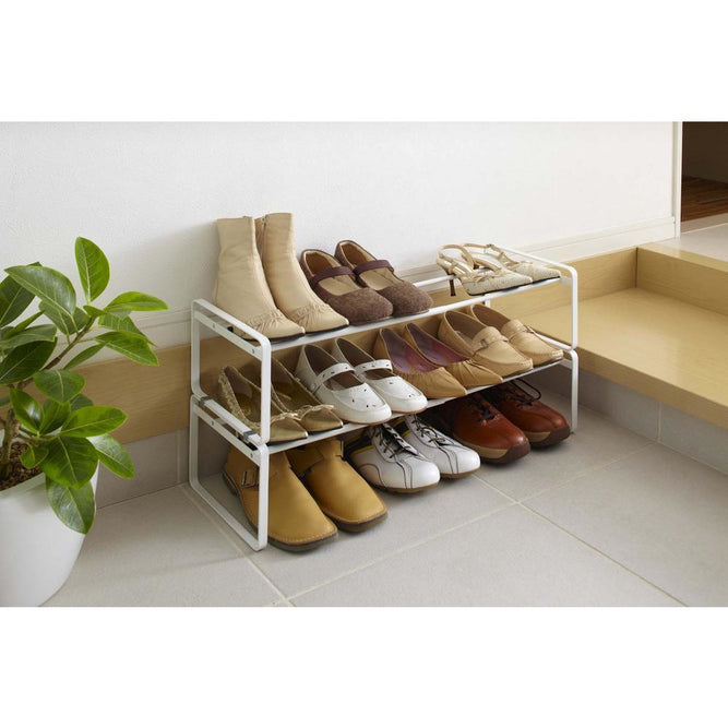 Frame Adjustable Shoe Rack, , White