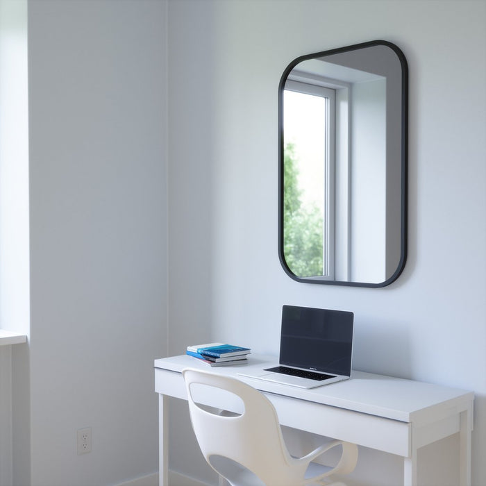 Hub Rectangle Wall Mirror Black - 24x36