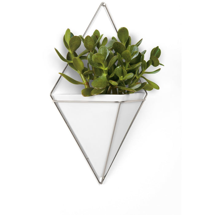 Trigg Large Wall Vessel - White/Nickel
