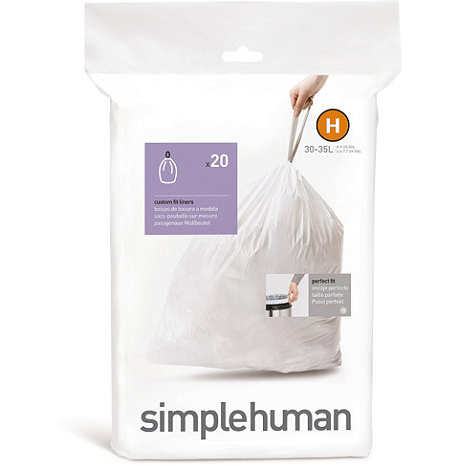 Simplehuman Sure-Fit Liner H (Pack of 20), 30-35 Litres - Neat Space