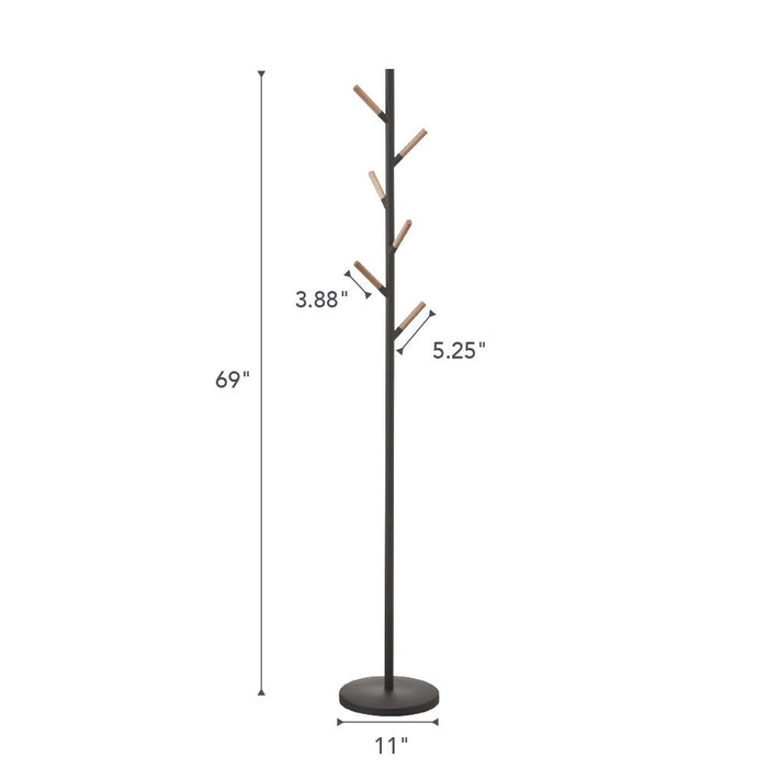 Plain Coat Rack/Hanger, Black/Wood