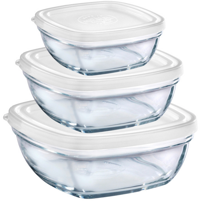 Duralex Lys Square Stackable Bowl with White Lid - 6pc set