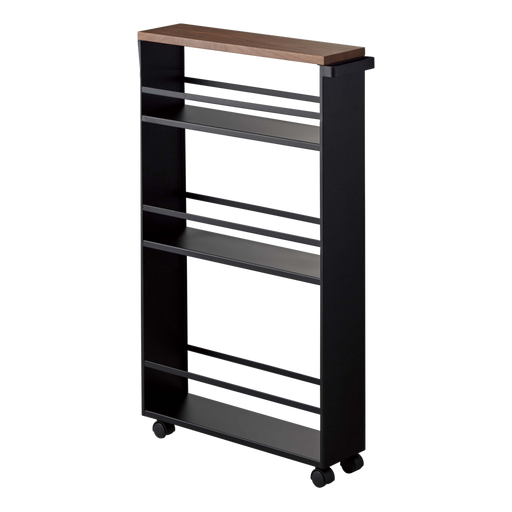 Tower Rolling Slim Storage Cart, Black/Wood