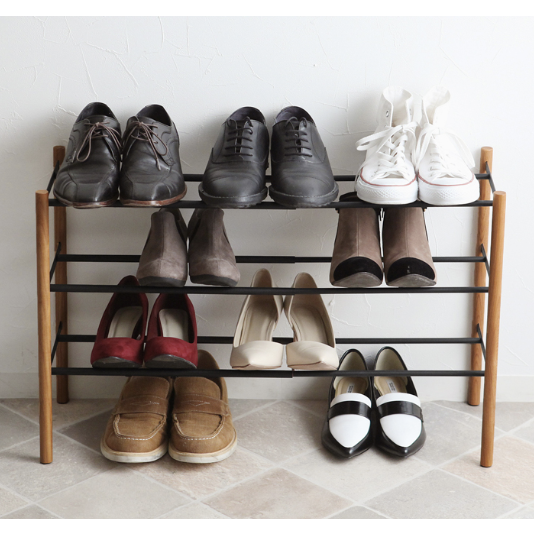 Plain Expandable 3 Tier Shoe Rack, Black