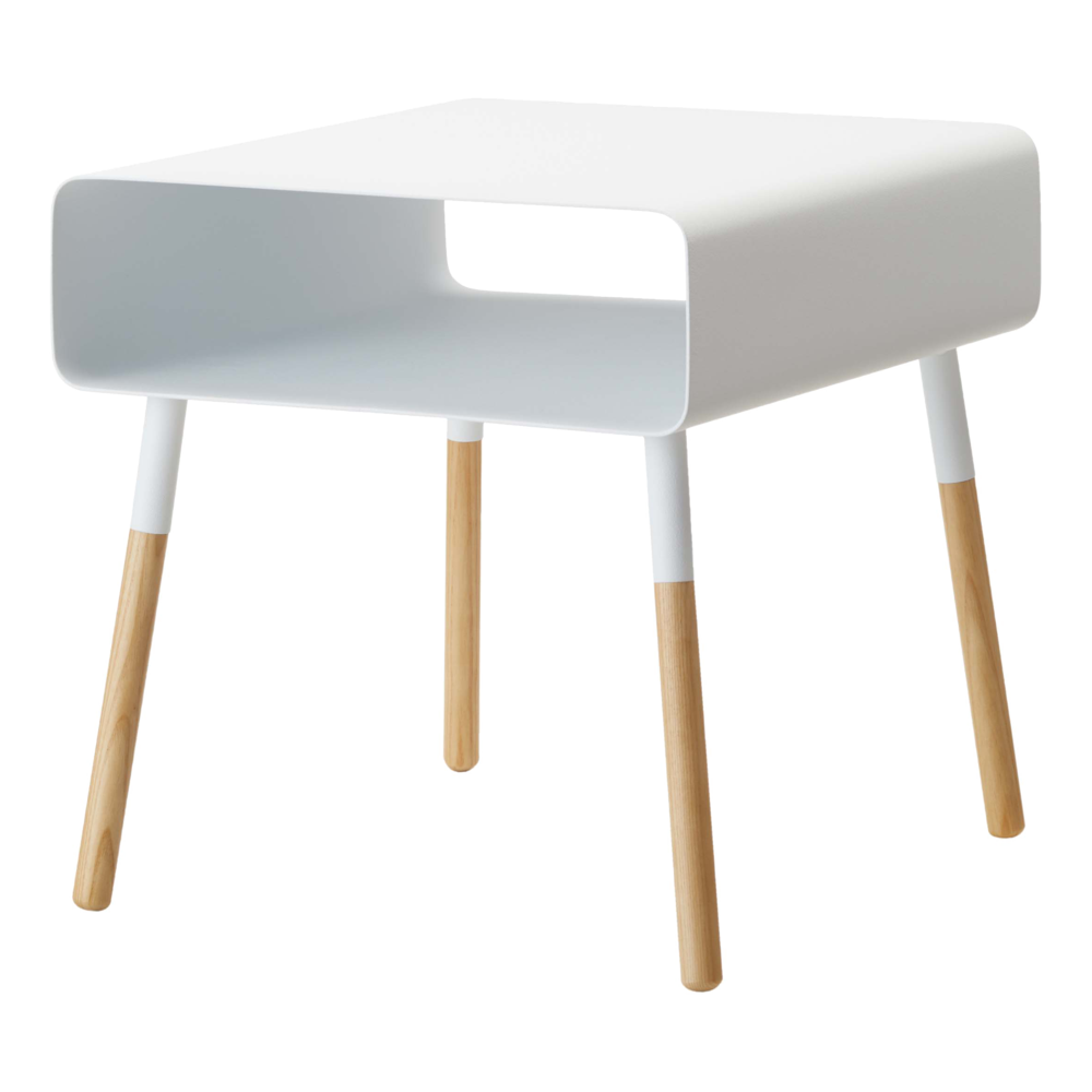 Plain Side Table with Storage, White/Wood - Neat Space
