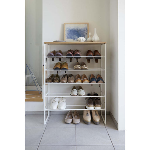 Tower 6-Tier Wood Top Shoe Rack, White