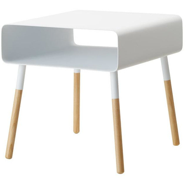 Plain Side Table with Storage, White/Wood