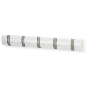 Flip 5 Wall Hook - White/Silver