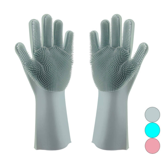 Silicone Dish Scrubbing Gloves, Grey