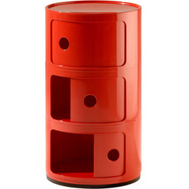Kartell Componibili 3 Elements, Red 23inch H x 12.5inch DIA