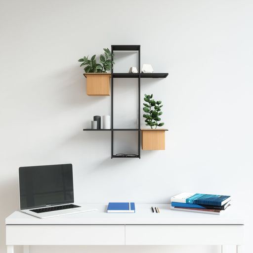 Cubist Multi Shelf Wall Planter, Black