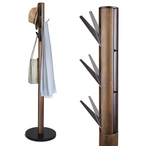 Flapper Coat Rack, Black/Walnut