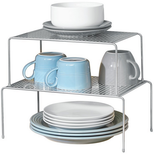 Classico Expandable and Stackable Cabinet Shelves, Silver - Neat Space