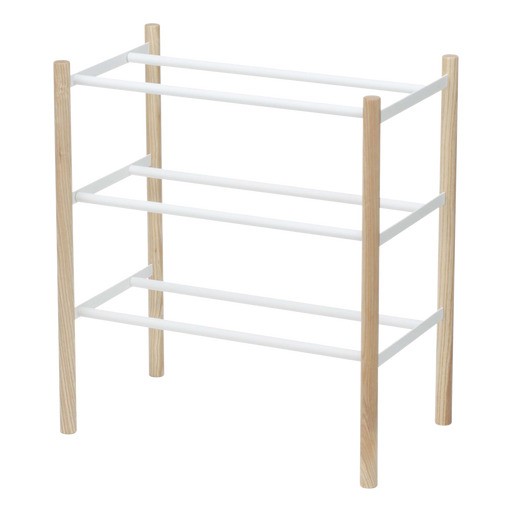 Plain Expandable 3-Tier Shoe Rack, White/Wood