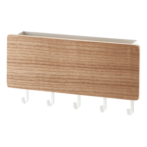 Rin Magnetic Key Rack With Tray - White/Wood