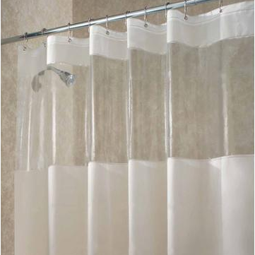 Poly View Shower Curtain - White/Clear