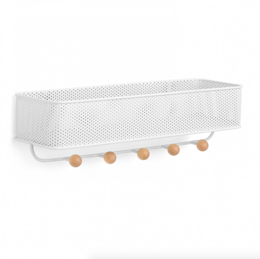 Estique Mesh 5 Hook Organizer - White/Wood