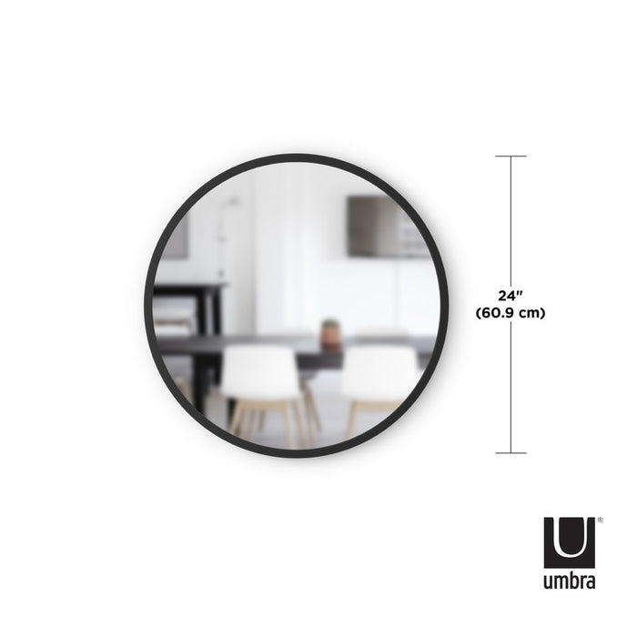 "Hub Round Wall Mirror, 24"" - Black"