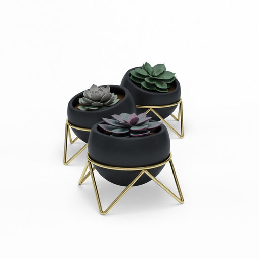 Potsy Planter Set, Black/Brass (3pk)