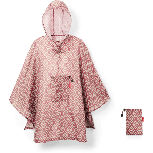 Mini Maxi Foldable Rain Poncho, Diamonds Rouge