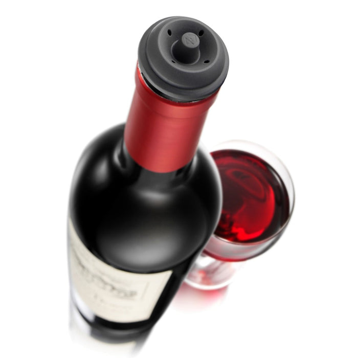 Vacu Vin Vacuum Wine Saver Pump with 2 Stoppers, Black