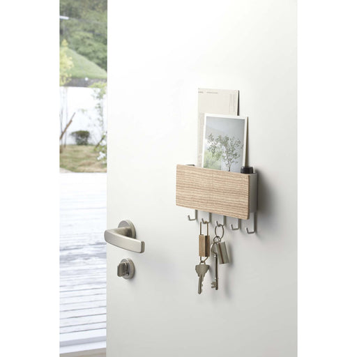 Rin Magnetic Key Rack With Tray, White/Wood
