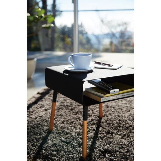 Plain Side Table with Storage - Black/Wood