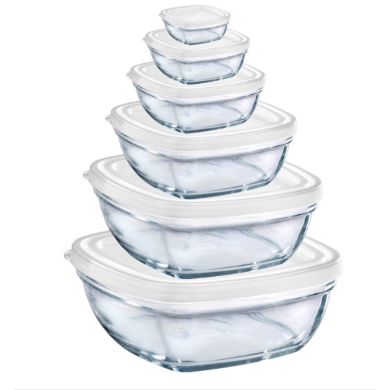 Duralex Lys Square Stackable Bowl with White Lid - 12pc set