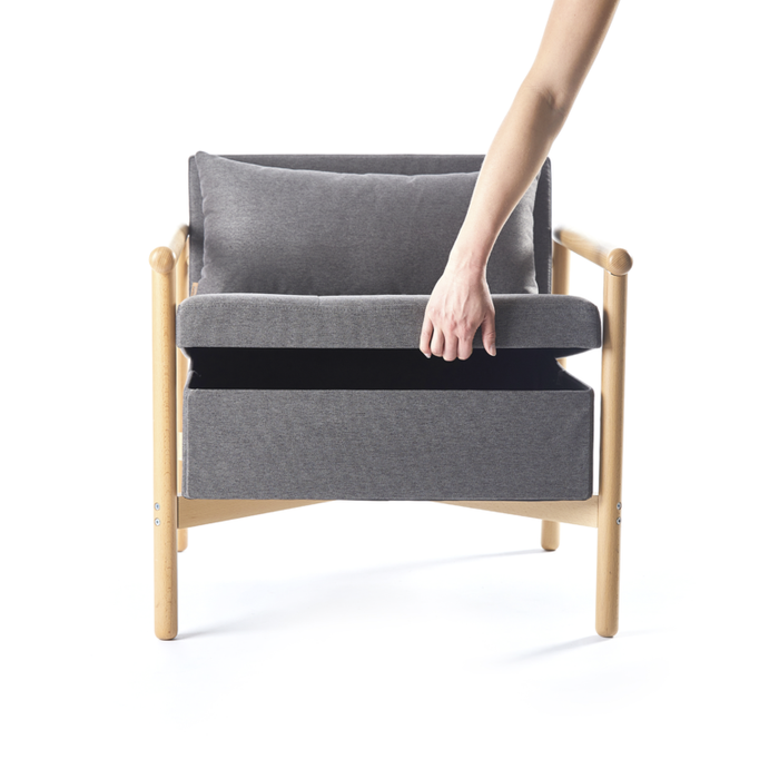 Nordik Storage Lounge Chair, Modest Grey DISPLAY MODEL SALE