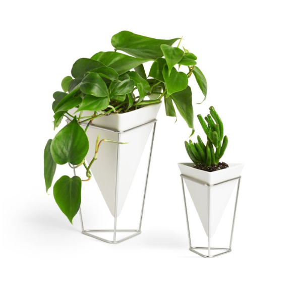 Trigg Tabletop Vase Set, White/Nickel - Set of 2