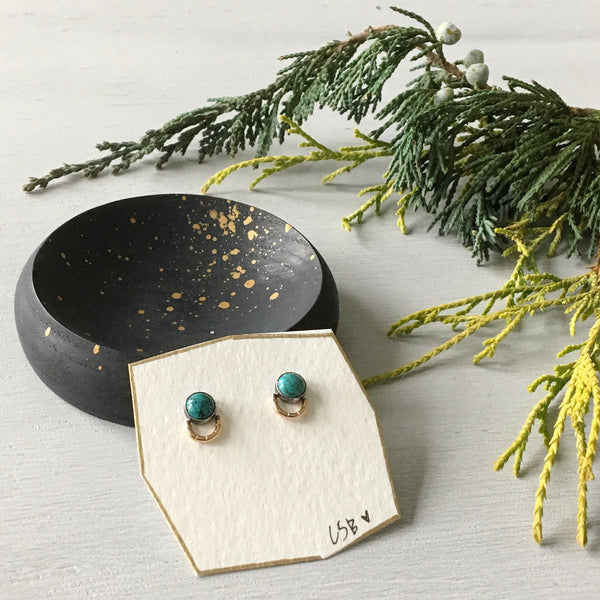 Turquoise Wasana studs with blackened and speckled ash skipping stone catchall GIFT SET
