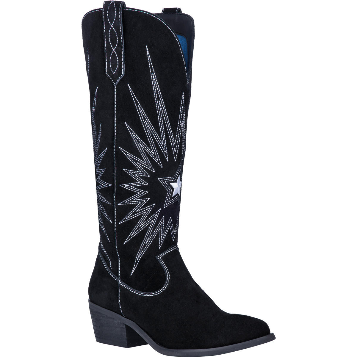 """Ole Ringo Star"" Black Leather Suede Knee High Boots"