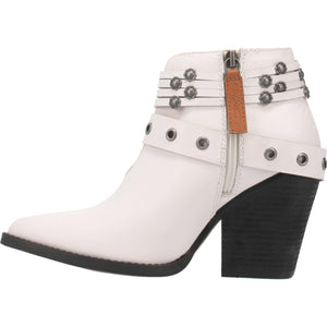 """Ole Born 2 Run"" White Leather Silver Concho Antique Buckle Booties (DS)"