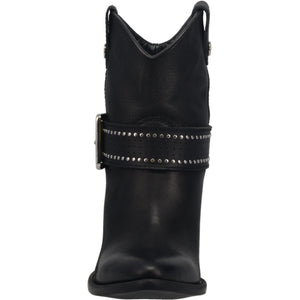 """Ole Backstage Pass"" Black Leather Silver Studded Buckle Ankle Booties (DS)"