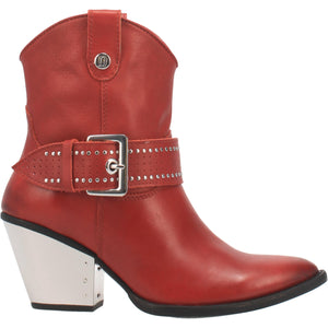 """Ole Backstage Pass"" Candy Apple Red Leather Silver Studded Buckle Ankle Booties (DS)"