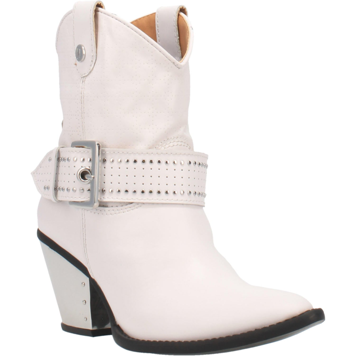 """Ole Backstage Pass"" White Leather Silver Studded Buckle Ankle Booties (DS)"