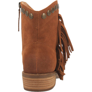 """Ole Lonestar"" Whiskey Brown Suede Leather Fringe Side Studded Star Booties (DS)"