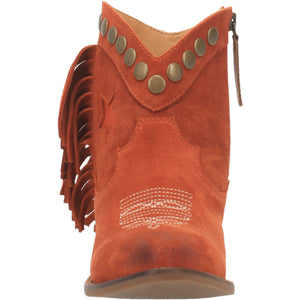 """Ole Lonestar"" Rust Suede Leather Fringe Side Studded Star Booties (DS)"