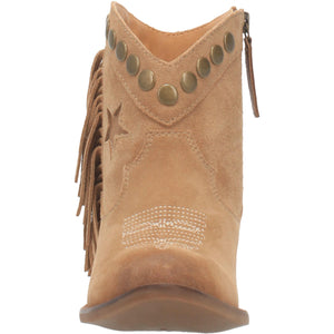 """Ole Lonestar"" Nude Suede Leather Fringe Side Studded Star Booties (DS)"