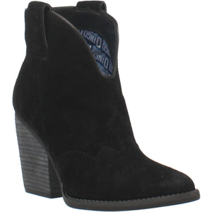 """Ole Flannie"" Black Suede Leather V Cut Front Booties (DS)"