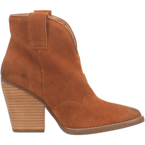 """Ole Flannie"" Whiskey Brown Suede Leather V Cut Front Booties (DS)"