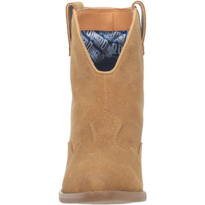 """Ole Flannie"" Nude Suede Leather V Cut Front Booties (DS)"
