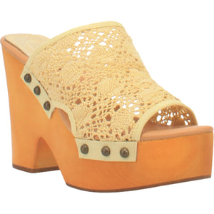 """Ole Crafty"" Crochet Lace Studded Platform Clogs ~ Baby Yellow (DS)"