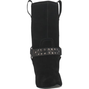 """Ole Dancin' Queen"" Black Suede Leather Antique Brass Buckle Boots (DS)"