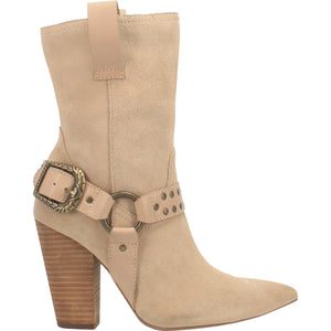 """Ole Dancin' Queen"" Beach Sand Suede Leather Antique Brass Buckle Boots (DS)"